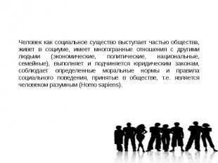 Человек как социальное существо выступает частью общества, живет в социуме, имее