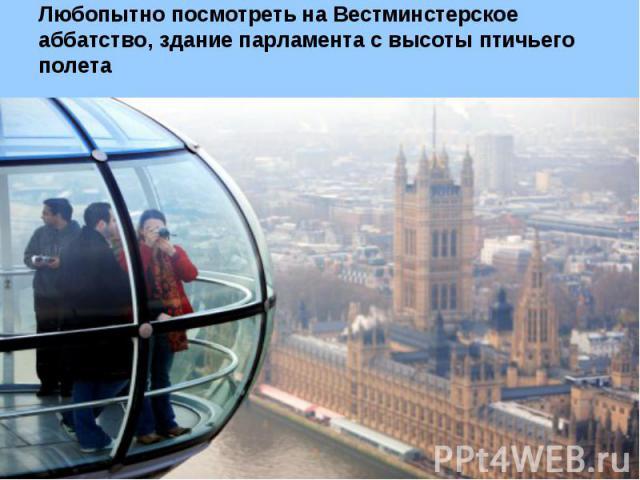 Любопытно посмотреть на Вестминстерское аббатство, здание парламента с высоты птичьего полета