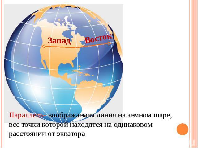 ЗападВостокПараллель- воображаемая линия на земном шаре, все точки которой находятся на одинаковом расстоянии от экватора