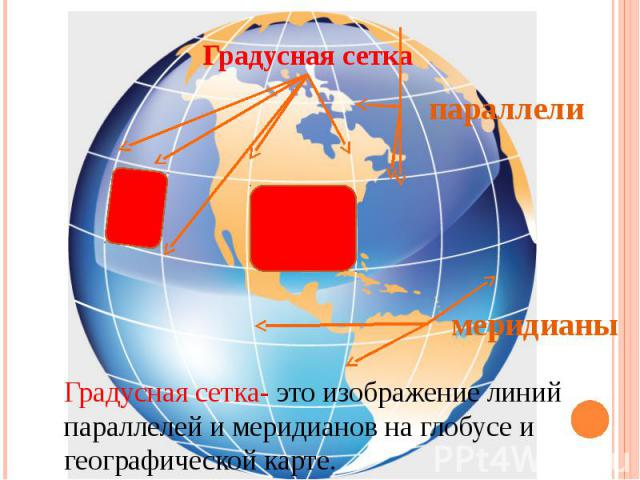 Градусная сеткапараллелимеридианыГрадусная сетка- это изображение линий параллелей и меридианов на глобусе и географической карте.