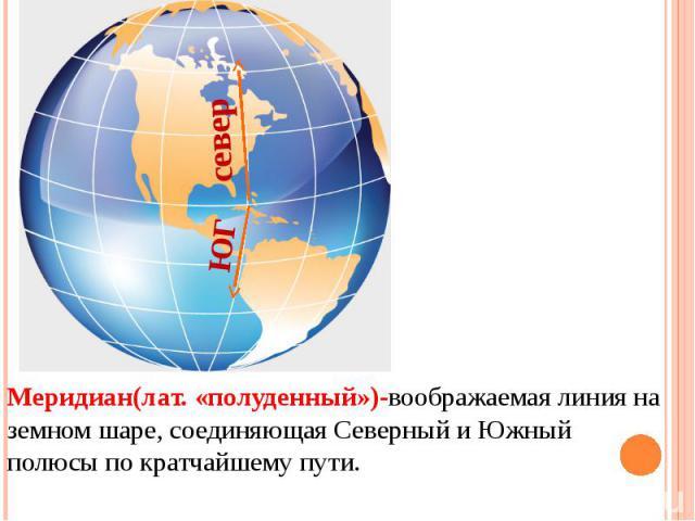 Меридиан(лат. «полуденный»)-воображаемая линия на земном шаре, соединяющая Северный и Южный полюсы по кратчайшему пути.