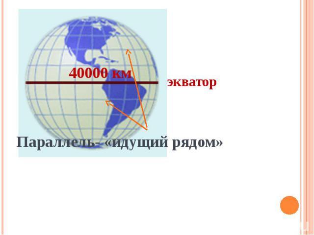 40000 кмэкваторПараллель- «идущий рядом»
