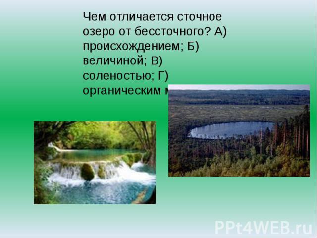 Чем отличается сточное озеро от бессточного? А) происхождением; Б) величиной; В) соленостью; Г) органическим миром.
