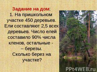 Задание на дом:1. На пришкольном участке 450 деревьев. Ели составляют 2,5 всех д