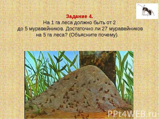 Задание 4.На 1 га леса должно быть от 2 до 5 муравейников. Достаточно ли 27 муравейников на 5 га леса? (Объясните почему).
