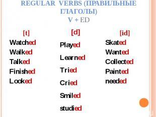 Regular verbs (Правильные глаголы)V + ed [t]WatchedWalkedTalkedFinishedLooked[d]