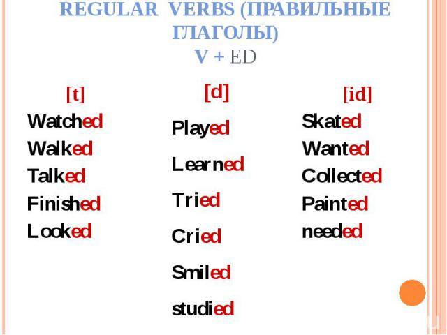 Regular verbs (Правильные глаголы)V + ed [t]WatchedWalkedTalkedFinishedLooked[d]PlayedLearnedTriedCriedSmiledstudied[id]SkatedWantedCollectedPaintedneeded
