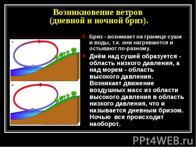 Возникновение ветров (дневной и ночной бриз) Бриз - возникает на границе суши и воды, т.к. они нагреваются и остывают по-разному.Днём над сушей образуется - область низкого давления, а над морем - область высокого давления. Возникает движение воздуш…