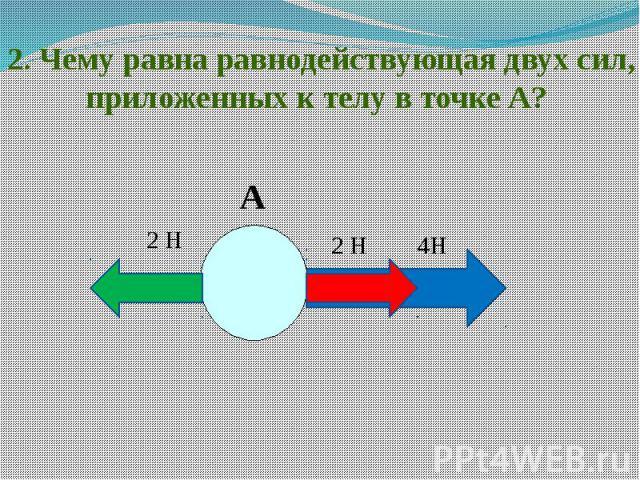 2. Чему равна равнодействующая двух сил, приложенных к телу в точке А?