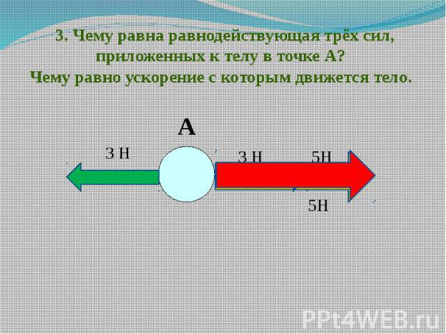3. Чему равна равнодействующая трёх сил, приложенных к телу в точке А? Чему равно ускорение с которым движется тело.