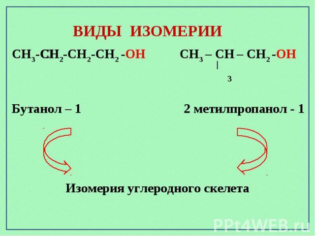 ВИДЫ ИЗОМЕРИИИзомерия углеродного скелета