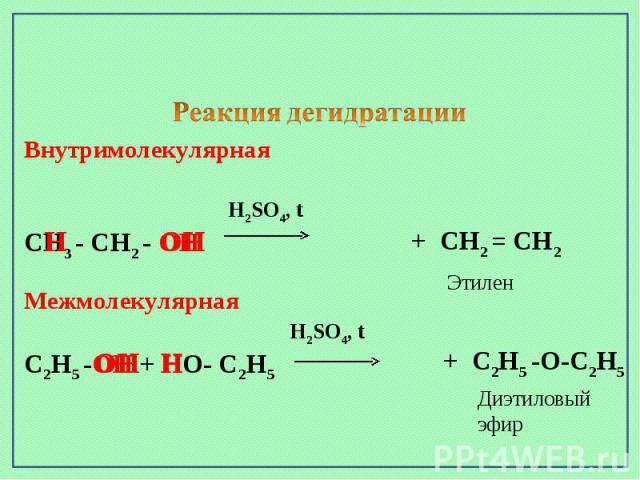 Внутримолекулярная H2SO4, tСН3 - СН2 - ОН Межмолекулярная H2SO4, tС2Н5 -ОН + НО- С2Н5
