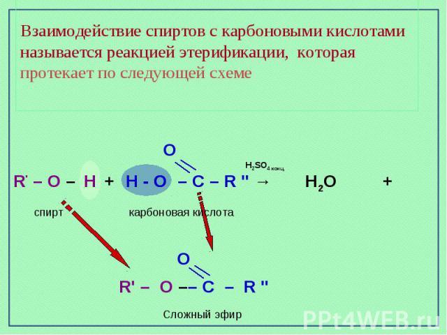 Взаимодействие спиртов с карбоновыми кислотами называется реакцией этерификации, которая протекает по следующей схеме
