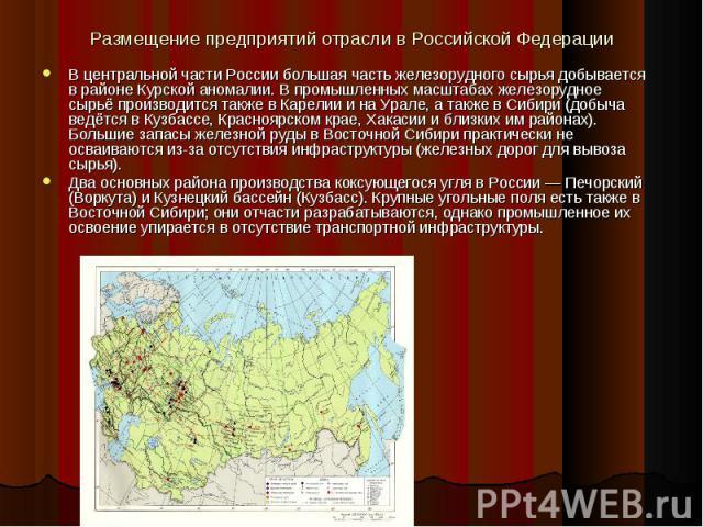 Размещение предприятий отрасли в Российской Федерации В центральной части России большая часть железорудного сырья добывается в районе Курской аномалии. В промышленных масштабах железорудное сырьё производится также в Карелии и на Урале, а также в С…