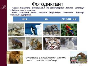 Фотодиктант Назови животных, изображённых на фотографиях, ласково, используя суф