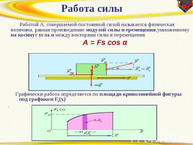 Работа силы Работой A, совершаемой постоянной силой называется физическая величина, равная произведению модулей силы и еремещения,умноженному на косинус угла α между векторами силы и перемещения A = Fs cos α Графически работа определяется по площади…