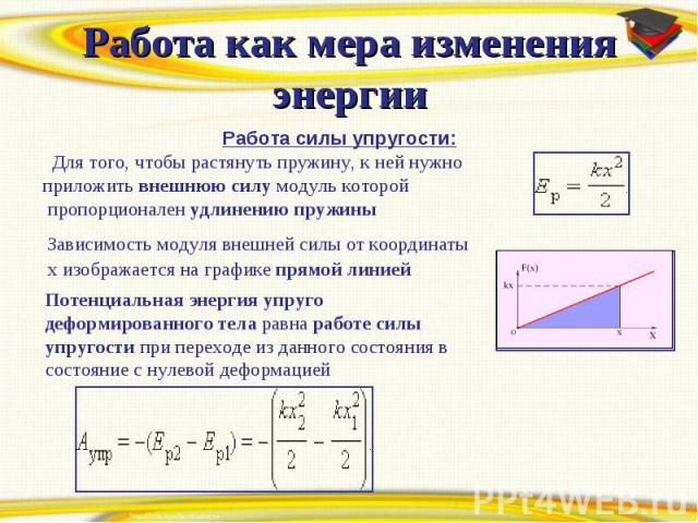 Работа как мера изменения энергии Работа силы упругости: Для того, чтобы растянуть пружину, к ней нужно приложить внешнюю силу модуль которой пропорционален удлинению пружины Зависимость модуля внешней силы от координаты x изображается на графике пр…