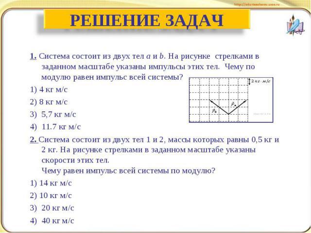 РЕШЕНИЕ ЗАДАЧ 1. Система состоит из двух телaиb. На рисунке стрелками в заданном масштабе указаны импульсы этих тел. Чему по модулю равен импульс всей системы?1)4 кг м/с 2) 8 кг м/с 3) 5,7 кг м/с 4) 11.7 кг м/с 2. Система состоит из двух тел 1…
