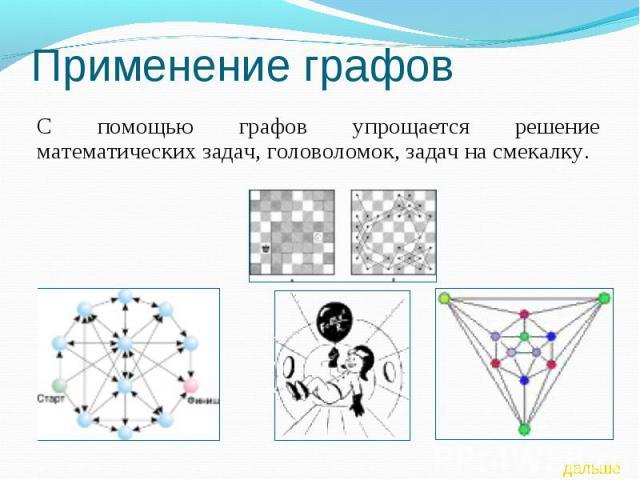 Применение графов С помощью графов упрощается решение математических задач, головоломок, задач на смекалку.