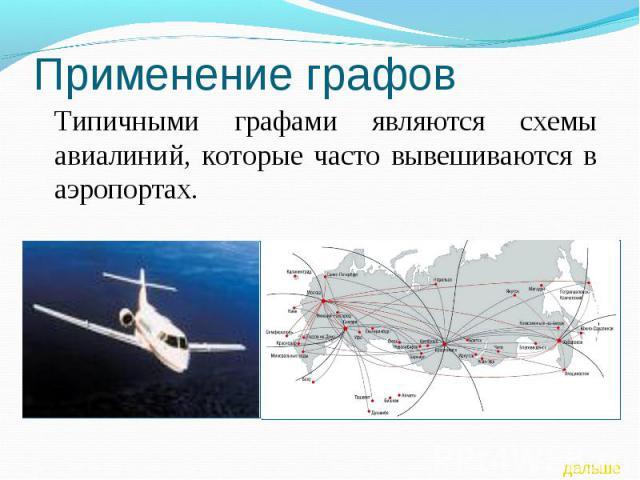 Применение графов Типичными графами являются схемы авиалиний, которые часто вывешиваются в аэропортах.