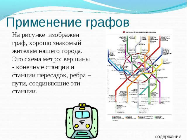 Применение графов На рисунке изображен граф, хорошо знакомый жителям нашего города. Это схема метро: вершины - конечные станции и станции пересадок, ребра – пути, соединяющие эти станции.