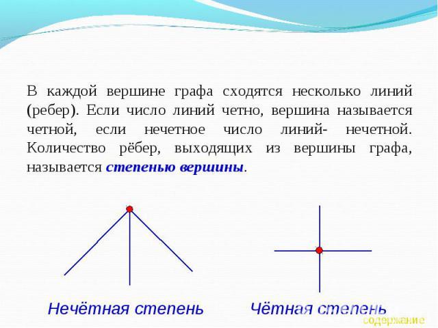 В каждой вершине графа сходятся несколько линий (ребер). Если число линий четно, вершина называется четной, если нечетное число линий- нечетной. Количество рёбер, выходящих из вершины графа, называется степенью вершины.