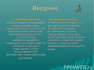 Введение. Литературный язык- основная наддиалектная форма существования языка, х