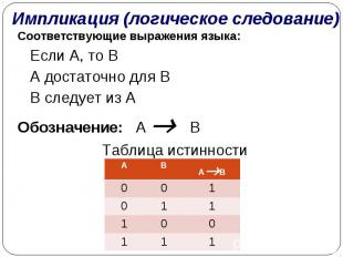 Импликация (логическое следование) Соответствующие выражения языка:  Если A, то