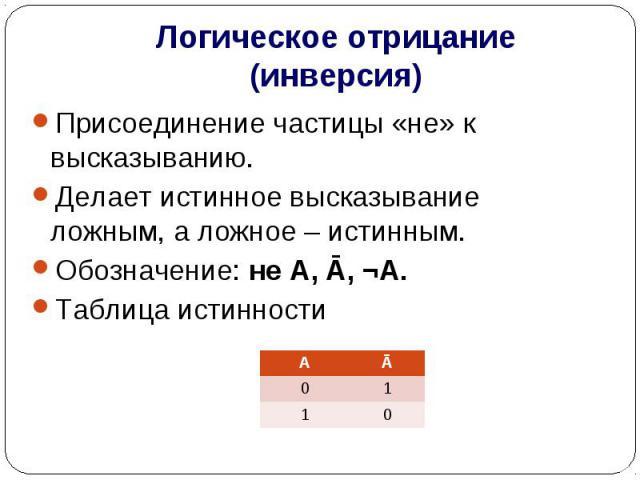 Логическое отрицание (инверсия) Присоединение частицы «не» к высказыванию.Делает истинное высказывание ложным, а ложное – истинным.Обозначение: не А, Ā, ¬А.Таблица истинности