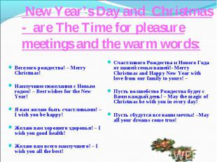 New Year's Day and Christmas- are The Time for pleasure meetings and the warm wo