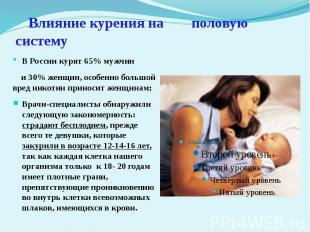 Влияние курения на половую систему В России курят 65% мужчин и 30% женщин, особе