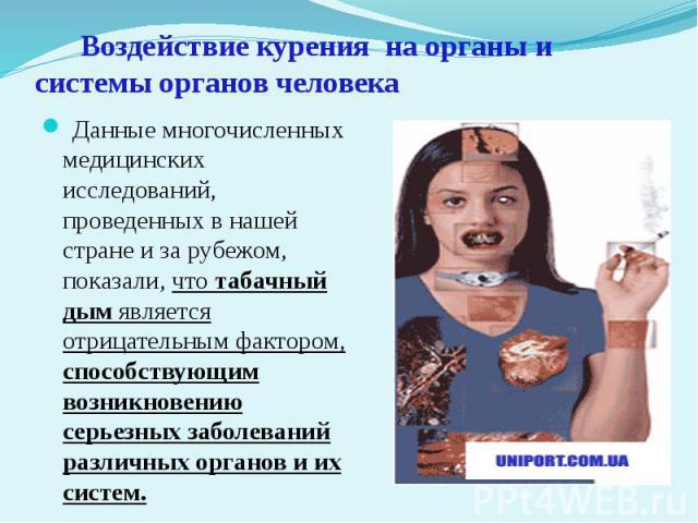 Воздействие курения на органы и системы органов человека Данные многочисленных медицинских исследований, проведенных в нашей стране и за рубежом, показали, что табачный дым является отрицательным фактором, способствующим возникновению серьезных забо…