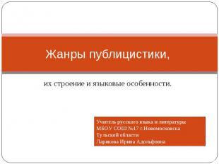 Жанры публицистики, их строение и языковые особенности.Учитель русского языка и