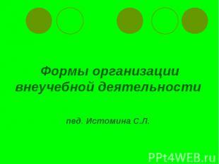 Формы организациивнеучебной деятельности пед. Истомина С.Л.