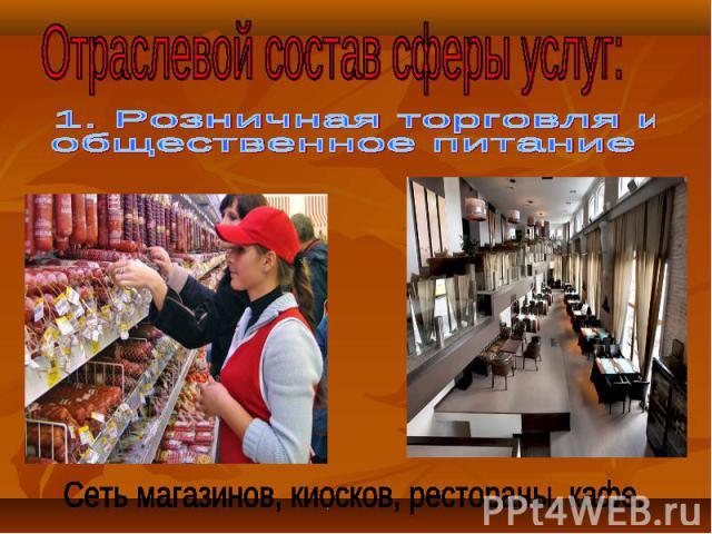 Отраслевой состав сферы услуг: 1. Розничная торговля иобщественное питаниеСеть магазинов, киосков, рестораны, кафе.
