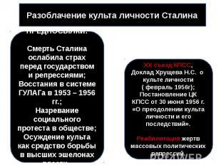 Разоблачение культа личности Сталина ПРЕДПОСЫЛКИ:Смерть Сталина ослабила страх п