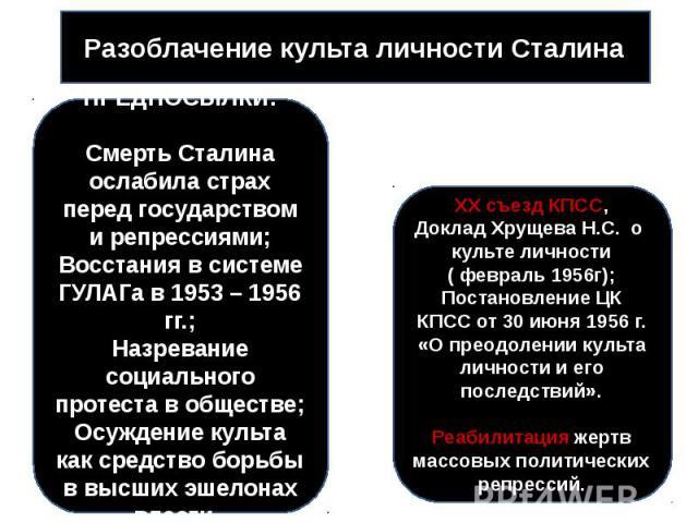Разоблачение культа личности Сталина ПРЕДПОСЫЛКИ:Смерть Сталина ослабила страх перед государством и репрессиями;Восстания в системе ГУЛАГа в 1953 – 1956 гг.;Назревание социального протеста в обществе;Осуждение культа как средство борьбы в высших эше…