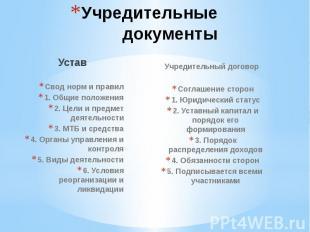 Учредительные документы УставСвод норм и правил1. Общие положения2. Цели и предм