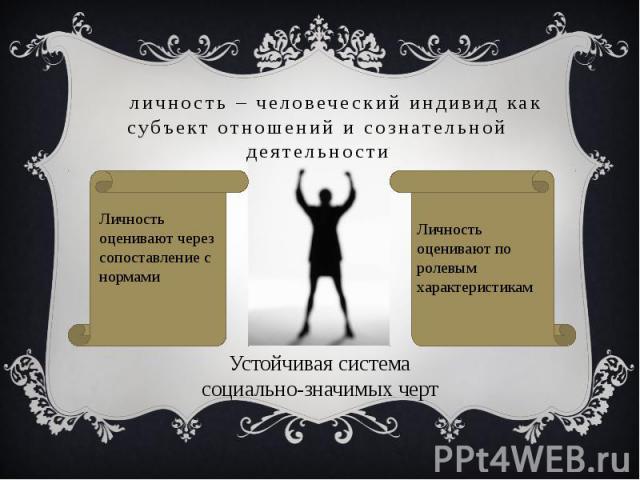 личность – человеческий индивид как субъект отношений и сознательной деятельности Личность оценивают через сопоставление с нормамиЛичность оценивают по ролевым характеристикамУстойчивая система социально-значимых черт