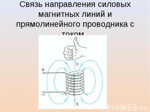Связь направления силовых магнитных линий и прямолинейного проводника с током.