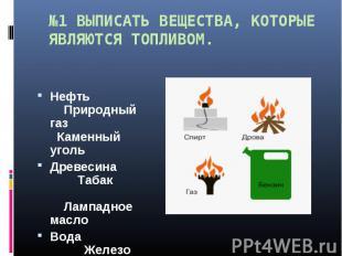 №1 ВЫПИСАТЬ ВЕЩЕСТВА, КОТОРЫЕ ЯВЛЯЮТСЯ ТОПЛИВОМ. Нефть Природный газ Каменный у
