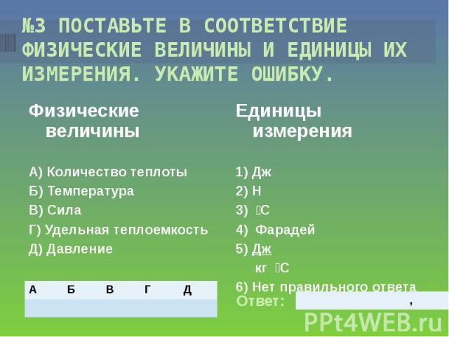 №3 ПОСТАВЬТЕ В СООТВЕТСТВИЕ ФИЗИЧЕСКИЕ ВЕЛИЧИНЫ И ЕДИНИЦЫ ИХ ИЗМЕРЕНИЯ. УКАЖИТЕ ОШИБКУ. Физические величиныА) Количество теплотыБ) ТемператураВ) СилаГ) Удельная теплоемкостьД) Давление Единицы измерения1) Дж2) Н3) С4) Фарадей5) Дж кг С6) Нет правиль…