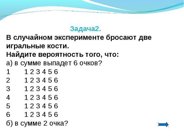 Задача2.В случайном эксперименте бросают две игральные кости. Найдите вероятность того, что:а) в сумме выпадет 6 очков?1 1 2 3 4 5 62 1 2 3 4 5 63 1 2 3 4 5 64 1 2 3 4 5 65 1 2 3 4 5 66 1 2 3 4 5 6б) в сумме 2 очка?
