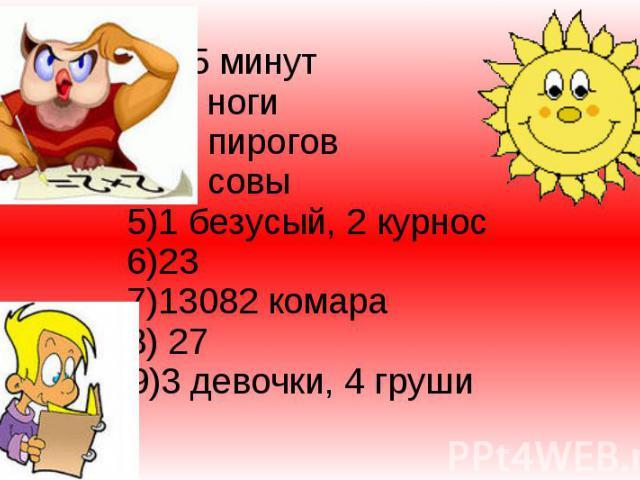 1) 45 минут 2)54 ноги 3)12 пирогов 4)22 совы 5)1 безусый, 2 курнос 6)23 7)13082 комара 8) 27 9)3 девочки, 4 груши
