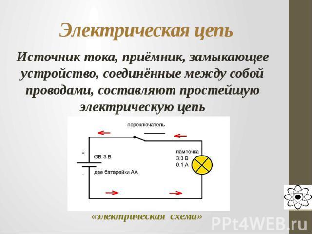 Электрическая цепь Источник тока, приёмник, замыкающее устройство, соединённые между собой проводами, составляют простейшую электрическую цепь