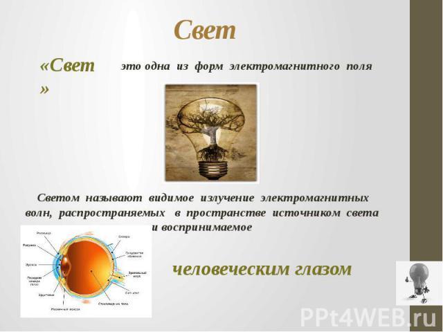 Свет «Свет» это одна из форм электромагнитного поляСветом называют видимое излучение электромагнитных волн, распространяемых в пространстве источником света и воспринимаемое человеческим глазом