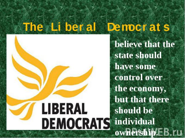 The Liberal Democrats believe that the state should have some control over the economy, but that there should be individual ownership.