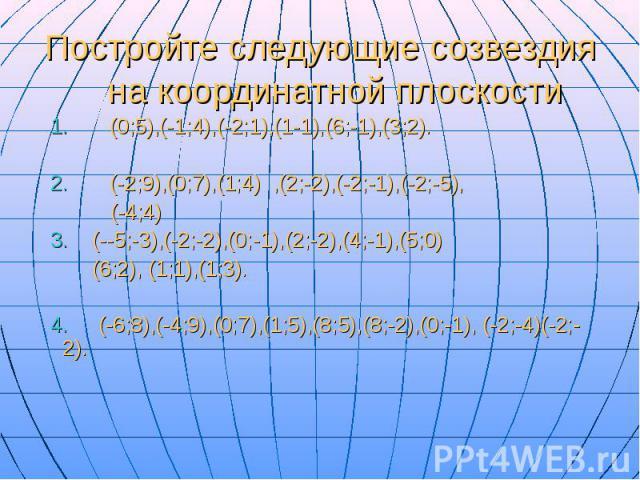 Постройте следующие созвездия на координатной плоскости 1. (0;5),(-1;4),(-2;1),(1-1),(6;-1),(3;2). 2. (-2;9),(0;7),(1;4) ,(2;-2),(-2;-1),(-2;-5), (-4;4) 3. (--5;-3),(-2;-2),(0;-1),(2;-2),(4;-1),(5;0) (6;2), (1;1),(1;3). 4. (-6;8),(-4;9),(0;7),(1;5),…
