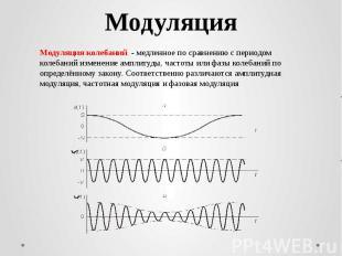 МодуляцияМодуляция колебаний - медленное по сравнению с периодом колебаний изме