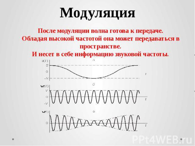МодуляцияПосле модуляции волна готова к передаче.Обладая высокой частотой она может передаваться в пространстве.И несет в себе информацию звуковой частоты.